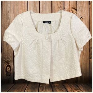 a.n.a. Cream Gold Sparkle short slv crop cover XL